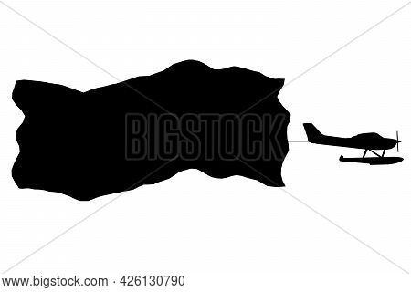 Airplane Silhouette With Placard Isolated On White Background. Vector Illustration