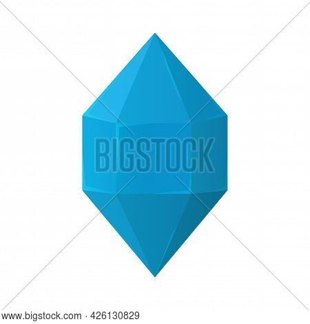 Vector Cartoon Blue Crystal Isolated On White Background