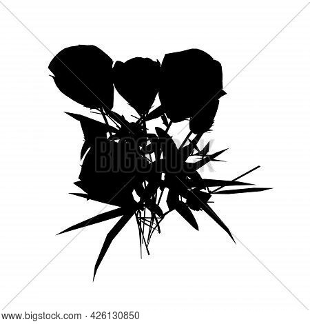 Silhouette Of A Bouquet Of Roses Isolated On A White Background. Vector Illustration
