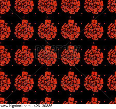 Vector Seamless Marigold Flower Pattern On A Black Background.