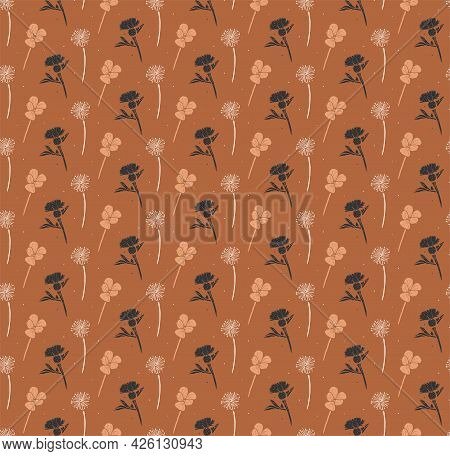 Vector Seamless Floral Pattern On A Brown Background.