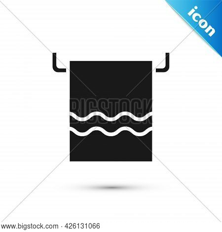 Grey Towel On A Hanger Icon Isolated On White Background. Bathroom Towel Icon. Vector Illustration
