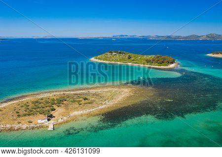 Aerial View Of Beautiful Islands In Turquoise Adriatic Sea In Croatia, Near Town Of Pakostane