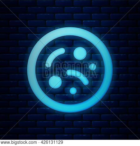 Glowing Neon Bacteria Icon Isolated On Brick Wall Background. Bacteria And Germs, Microorganism Dise