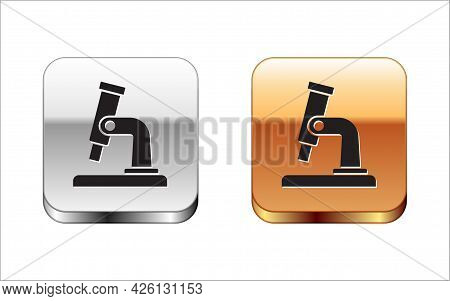 Black Microscope Icon Isolated On White Background. Chemistry, Pharmaceutical Instrument, Microbiolo