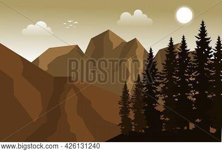 Mountain Peak Pine Fir Trees Nature Landscape Adventure Illustration