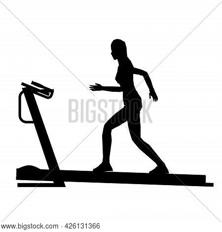 Silhouette Of A Running Girl On A Treadmill Isolated On A White Background. Vector Illustration