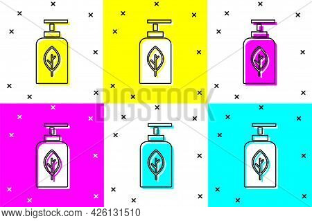 Set Essential Oil Bottle Icon Isolated On Color Background. Organic Aromatherapy Essence. Skin Care
