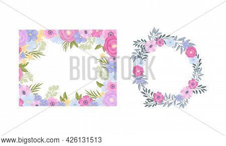 Floral Frame Of Lush Blooming Flowers As Decorative Vector Composition Set