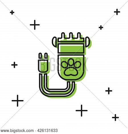 Black Hair Clipper Accessories For Pet Grooming Icon Isolated On White Background. Vector