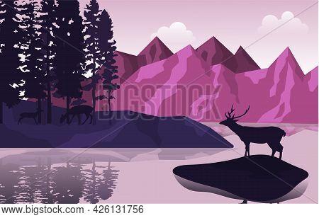 Peaceful Mountain Lake Deer Pine Trees Nature Landscape Illustration