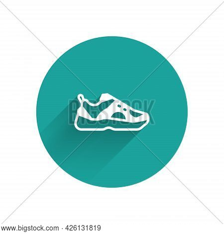 White Fitness Sneakers Shoes For Training, Running Icon Isolated With Long Shadow. Sport Shoes. Gree