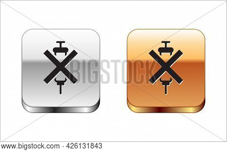 Black No Doping Syringe Icon Isolated On White Background. Silver-gold Square Button. Vector