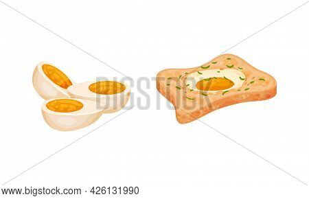 Boiled Egg And Scrambled Egg On Bread Slice Vector Set