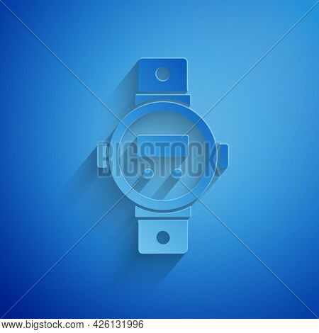 Paper Cut Diving Watch Icon Isolated On Blue Background. Diving Underwater Equipment. Paper Art Styl