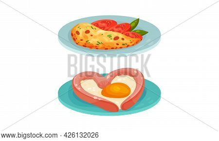Scrambled Egg With Sausage And Omelette Served On Plate Vector Set