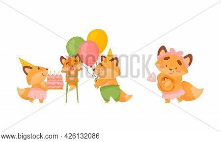 Happy Fox Family With Mother And Father Loving Their Little Cub Celebrating Birthday Vector Set