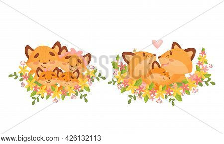 Happy Fox Family Portrait With Mother And Father With Their Little Cubs In Floral Frame Vector Set