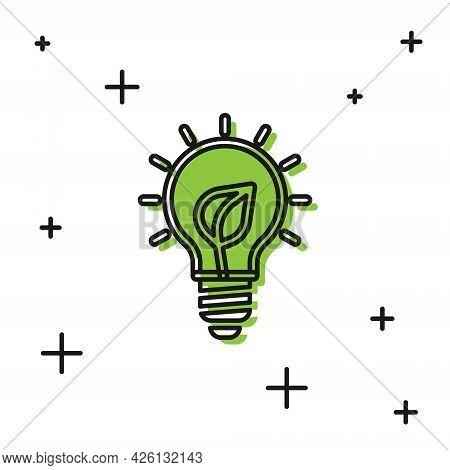 Black Light Bulb With Leaf Icon Isolated On White Background. Eco Energy Concept. Alternative Energy