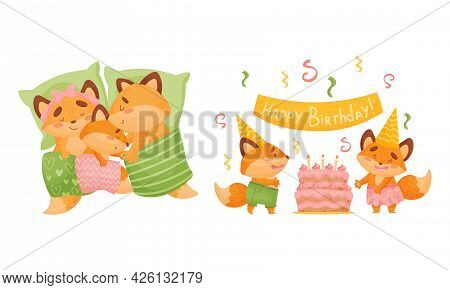 Happy Fox Family With Mother And Father Sleeping In Bed With Their Little Cub And Celebrating Birthd