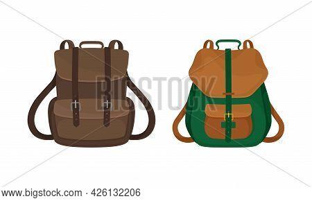Knapsack Or Rucksack As Sack With Straps For Carrying On Shoulder Vector Set
