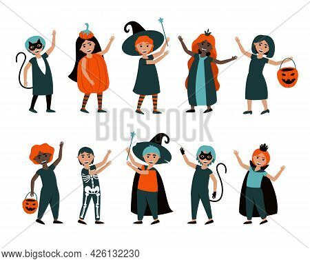 Set Of Isolated Boys And Girls In Halloween Costumes. Cute Carnival Costumes For Kids On Halloween O