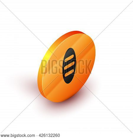 Isometric Bread Loaf Icon Isolated On White Background. Orange Circle Button. Vector