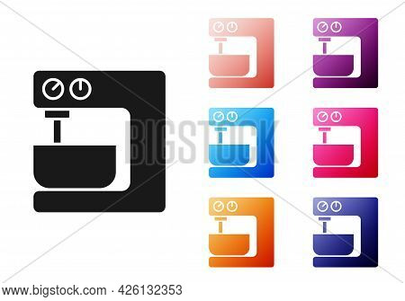 Black Electric Mixer Icon Isolated On White Background. Kitchen Blender. Set Icons Colorful. Vector