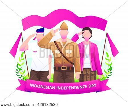 Heroes And Women Salute The Flag In Celebration Of Indonesia's Independence Day On 17 August. Flat V