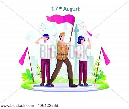 Youth And Heroes Celebrate Indonesia's Independence Day On August 17th. Flat Vector Illustration