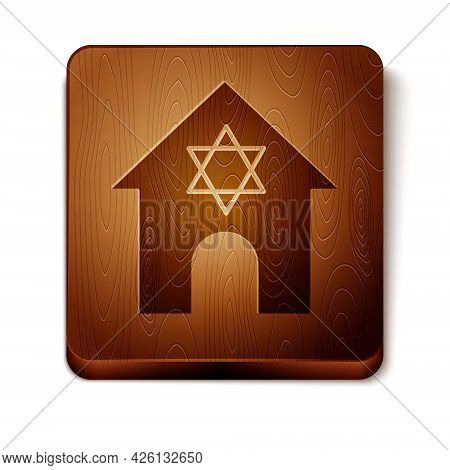 Brown Jewish Synagogue Building Or Jewish Temple Icon Isolated On White Background. Hebrew Or Judais