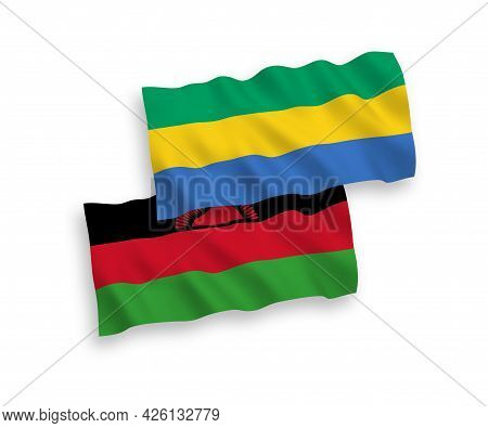 National Fabric Wave Flags Of Malawi And Gabon Isolated On White Background. 1 To 2 Proportion.