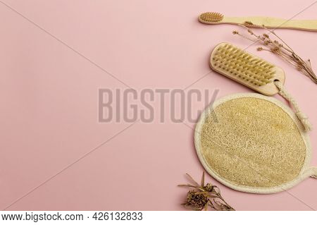 Natural Bath Accessories, Set Of Natural Bath Accessories, Eco-friendly Products. High Quality Photo