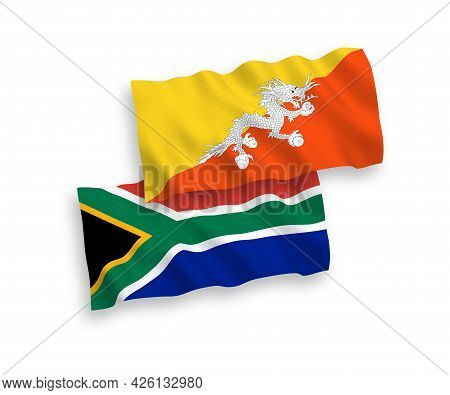 National Fabric Wave Flags Of Kingdom Of Bhutan And Republic Of South Africa Isolated On White Backg