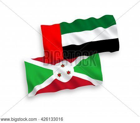 National Fabric Wave Flags Of Burundi And United Arab Emirates Isolated On White Background. 1 To 2