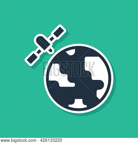 Blue Artificial Satellites Orbiting The Planet Earth In Outer Space Icon Isolated On Green Backgroun