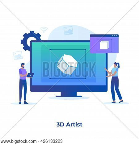 Flat Illustration Of 3D Artist Concept