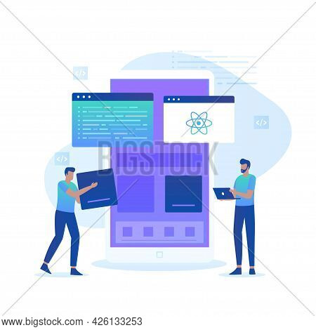 Flat Illustration Of React Native Programmer Concept
