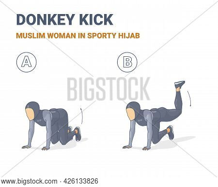 Muslim Woman Doing Donkey Kick Home Workout Exercise In Sporty Hijab Guidance Colorful Illustration.