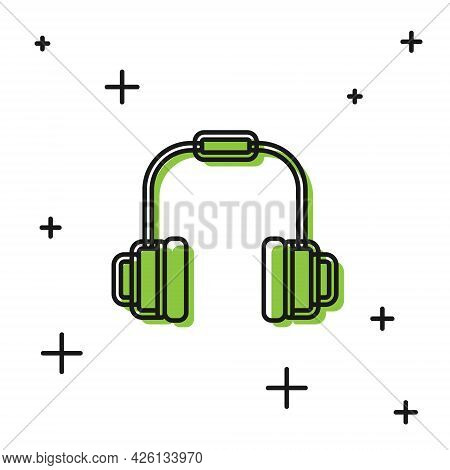 Black Headphones Icon Isolated On White Background. Earphones. Concept For Listening To Music, Servi