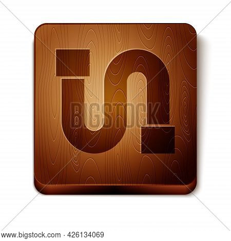 Brown Industry Metallic Pipe Icon Isolated On White Background. Wooden Square Button. Vector