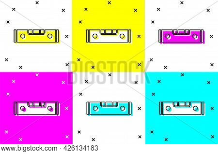 Set Construction Bubble Level Icon Isolated On Color Background. Waterpas, Measuring Instrument, Mea