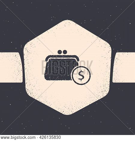Grunge Wallet With Coins Icon Isolated On Grey Background. Purse Icon. Cash Savings Symbol. Monochro
