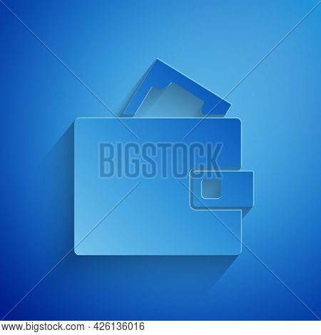 Paper Cut Wallet With Stacks Paper Money Cash Icon Isolated On Blue Background. Purse Icon. Cash Sav