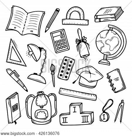 Set Of Hand Drawn School Subjects Isolated On A White Background. Doodle, Simple Outline Illustratio