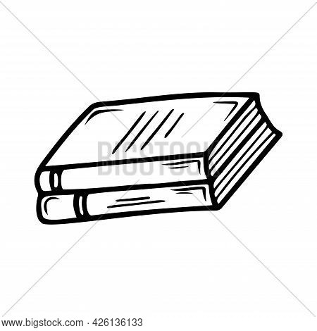 Hand Drawn Two Books, School, Office Items Isolated On A White Background. Doodle, Simple Outline Il