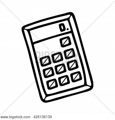 Hand Drawn Calculator, School, Office Items Isolated On A White Background. Doodle, Simple Outline I