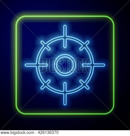 Glowing Neon Target Sport Icon Isolated On Blue Background. Clean Target With Numbers For Shooting R