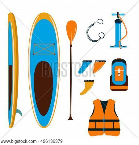 Set Of Stand-up Paddleboard Accessories. Basic Set For Sup. Inflatable Board, Paddle, Life Jacket, F
