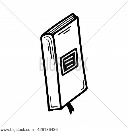 Hand Drawn Book, School, Office Items Isolated On A White Background. Doodle, Simple Outline Illustr